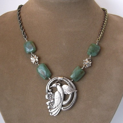 Nouveau Silver Bird and Faceted Jade Necklace- Vintage Redesign