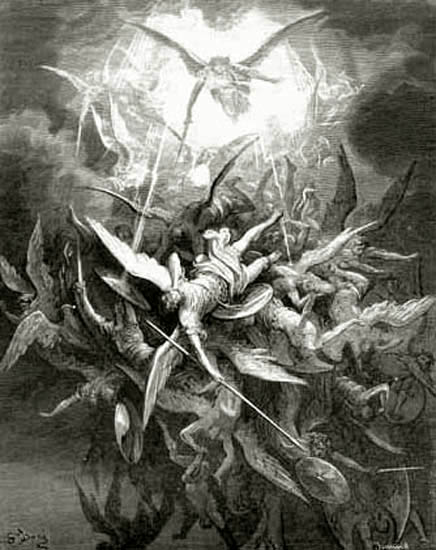 Milton, Paradise Lost, Lucifer is Cast Out of Heaven by Gustave Doré.