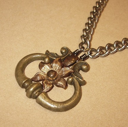 Drawer Handle Flower Abalone Brass and Silver Necklace- Vintage Redesign