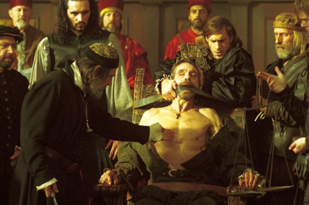 Michael Radford 2004 Merchant of Venice with Al Pacino as Shylock and Jeremy Irons (the one tied up) as Antonio.