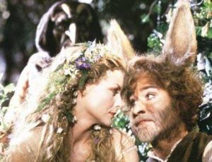 Michelle Pfeifer as Titania and Kevin Kline as Bottom, the Weaver, in Michael Hoffman's version of A Midsummer Night's Dream