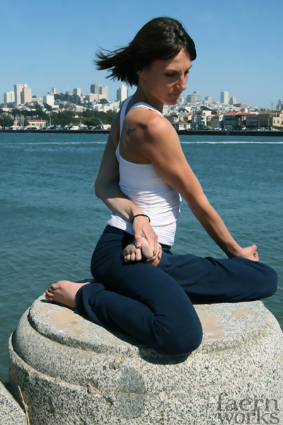Silvie Hibdon teaches all over the city from crunch to subbing classes at Yoga Tree, SF, photo by faernworks