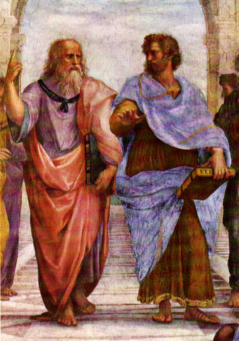 "Aristotle and Plato in Raphael's ""School of Athens."" Aristotle's hand symbolizes his realism, Plato's his mysticism view."