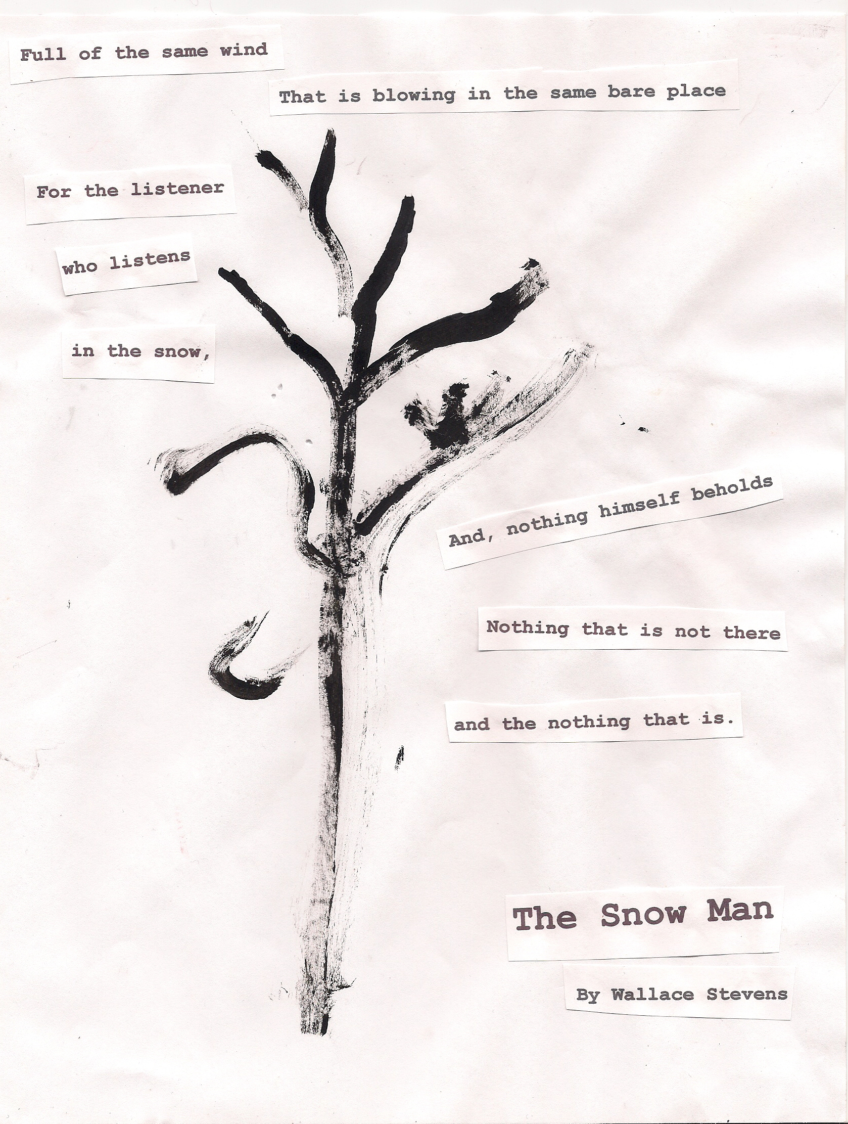 interpretation and analysis wallace stevens snow man The usual object of interpretation is meaning, or some set of ideas that can be   be on the first two types of deformance and on two works by wallace stevens,   of stevens'--is therefore to be imagined a lesser poiesis than the snow man.